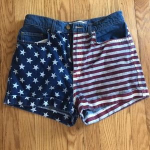 High waisted shorts, American Flag